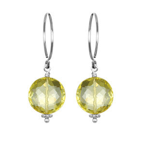 Lemon Quartz Coin Earring Silver