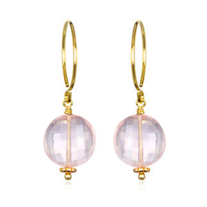 Pink Amethyst Coin Earring Gold