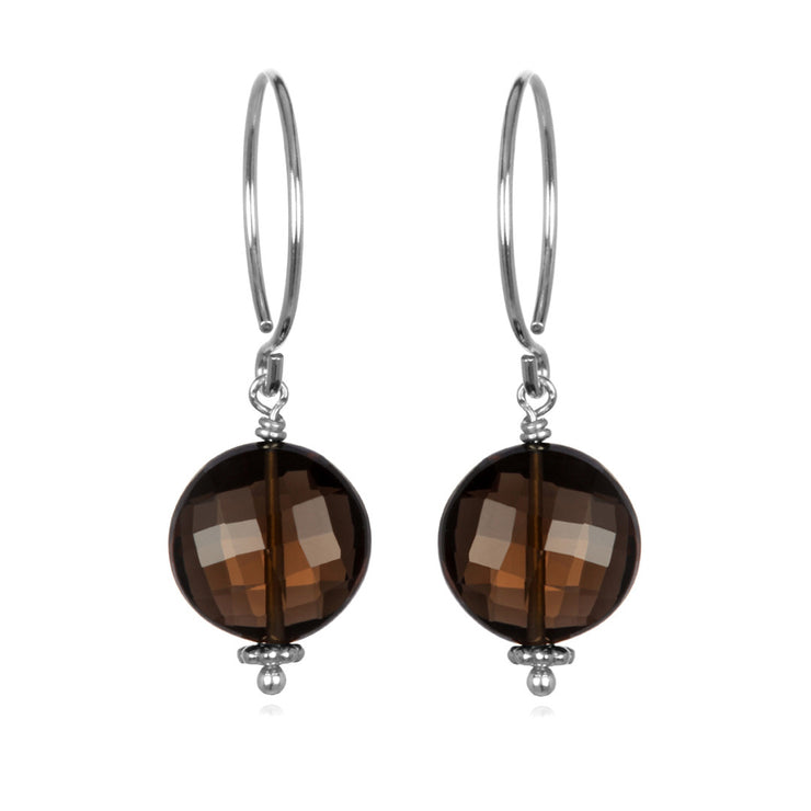 Smoky Quartz Coin Earring Silver