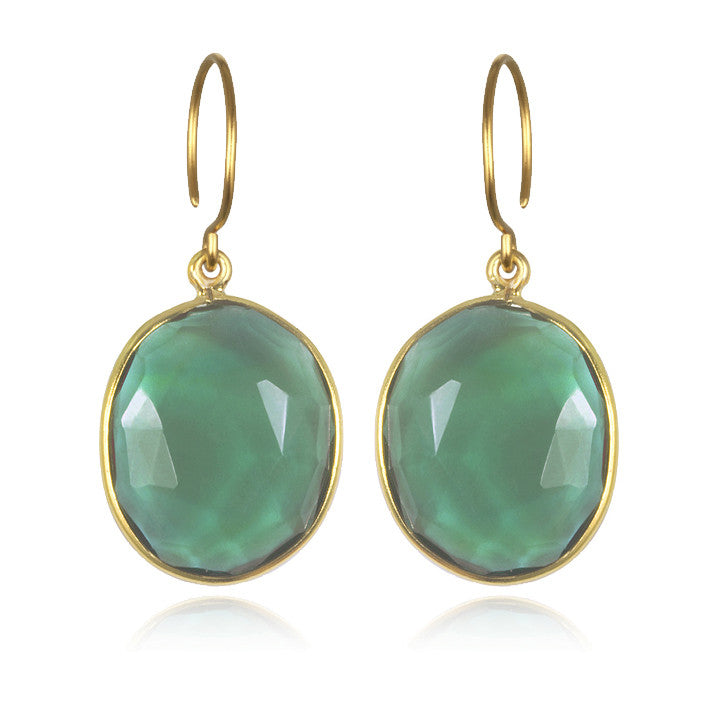 Cabo Gem Earring-Emerald Gold
