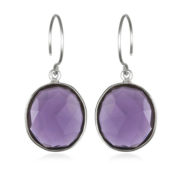 Cabo Gem Earring-Violet Purple Silver