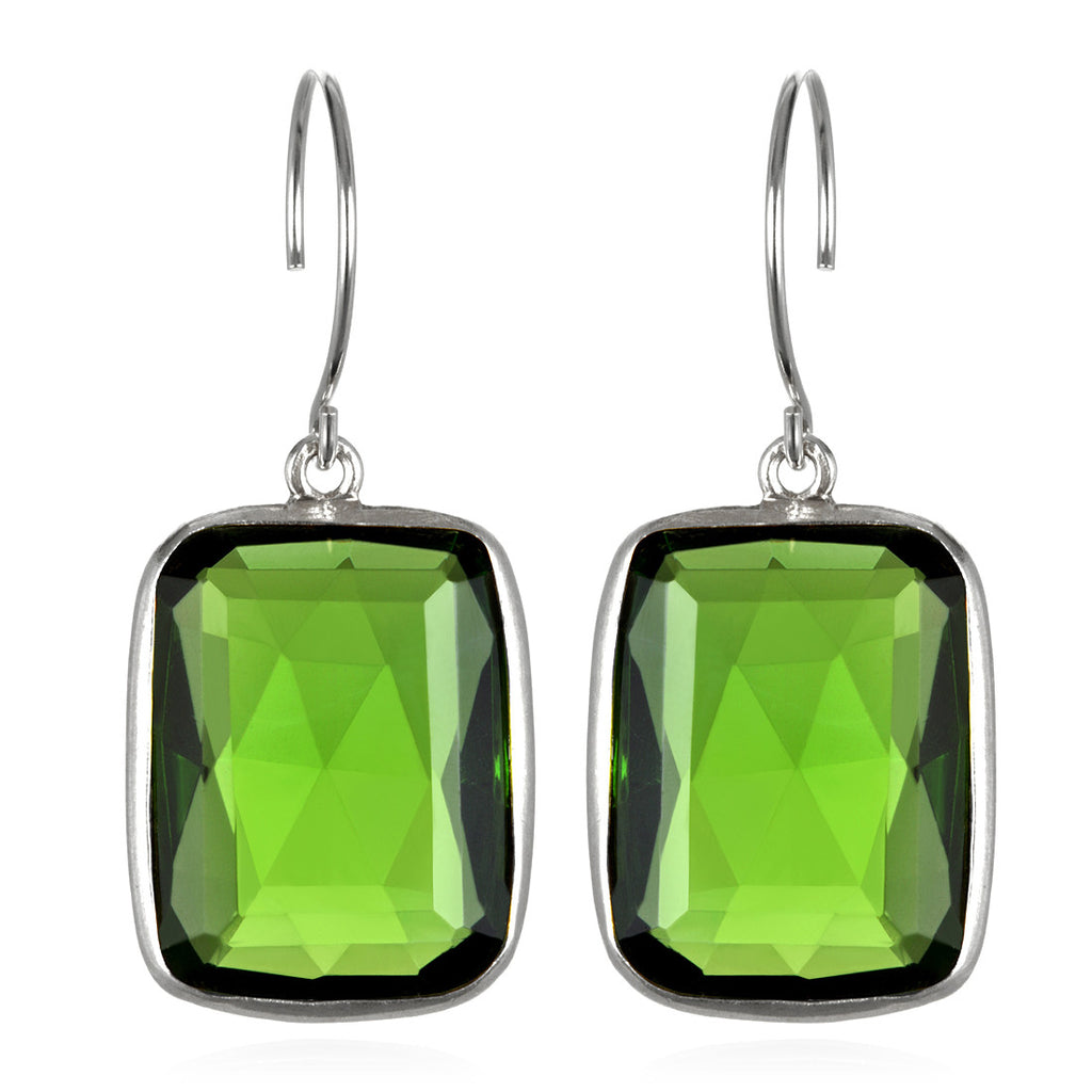 Cabo Emerald Earring-Lime Green Silver