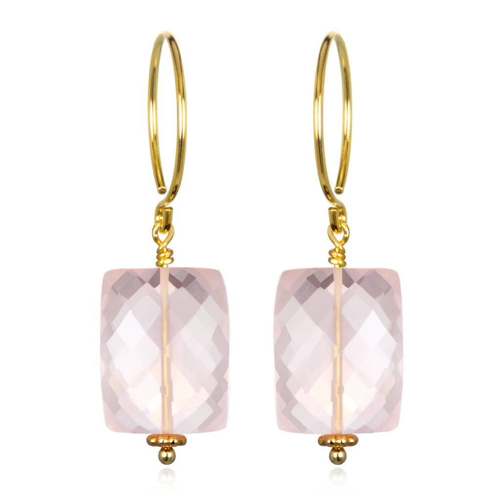 Rose Quartz Sadie Earring Gold