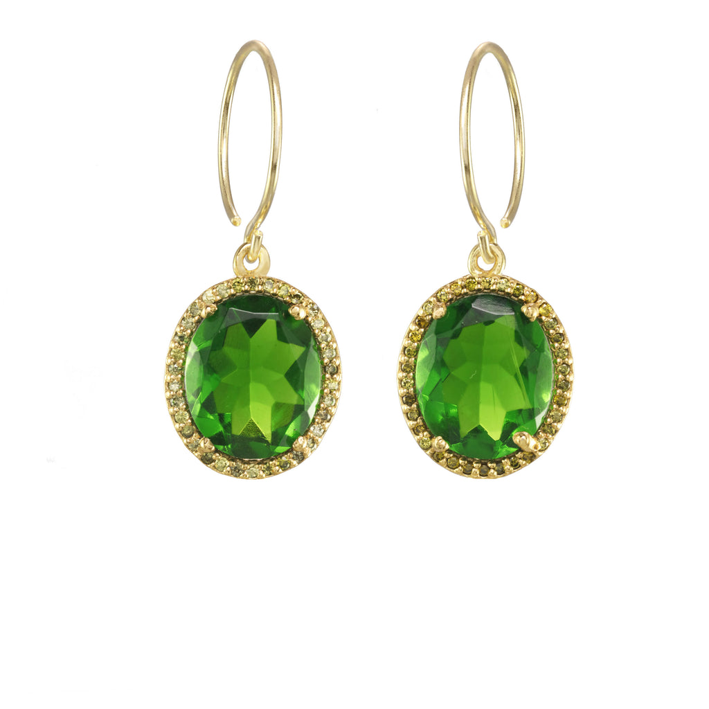 Charleston Pave Quartz Earring - Lime Gold