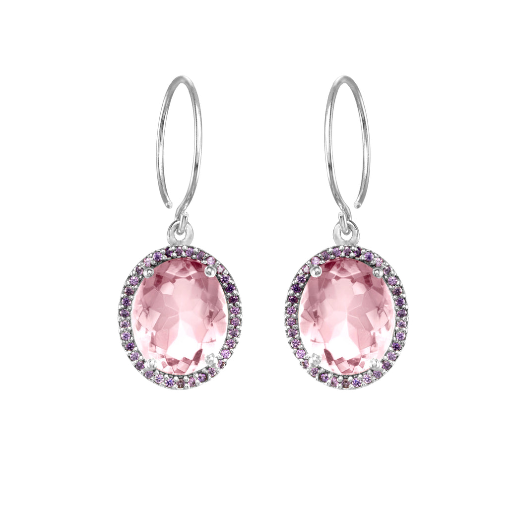 Charleston Pave Quartz Earring - Light Purple Silver