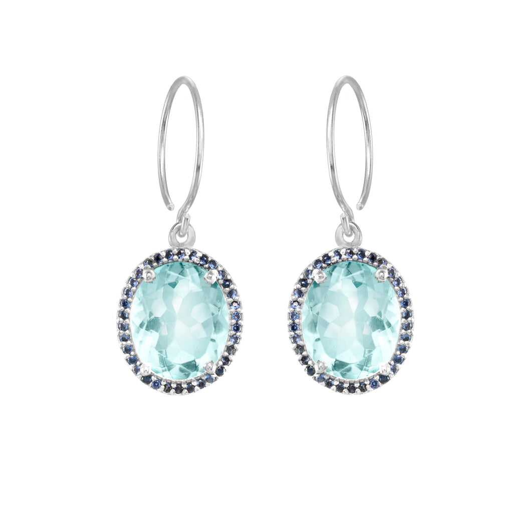 Charleston Pave Quartz Earring - Sky Blue Silver