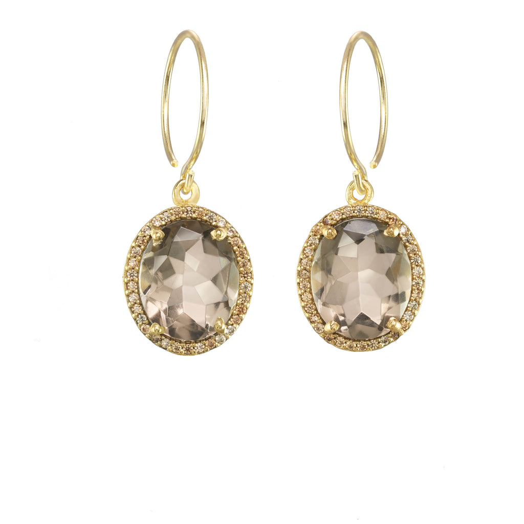 Charleston Pave Quartz Earring - Smoky Gold