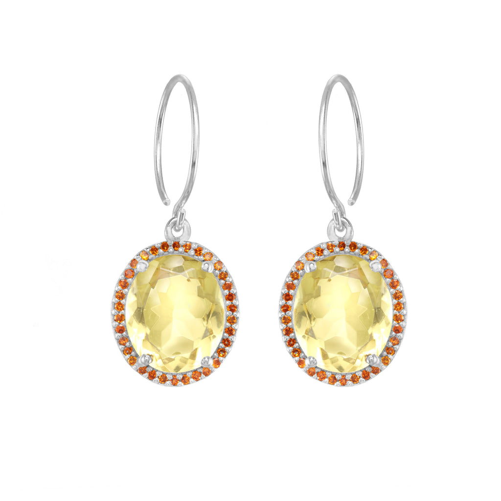 Charleston Pave Quartz Earring - Yellow Silver