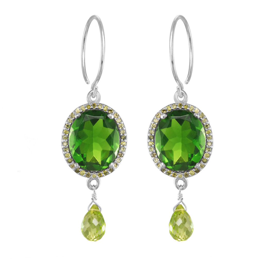 Charleston Gemdrop Earring - Lime Green Silver