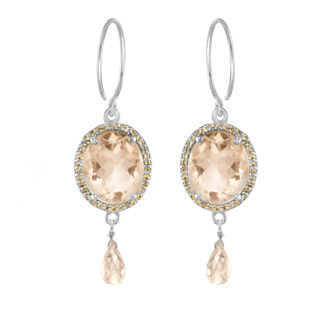 Charleston Gemdrop Earring - Peach Silver