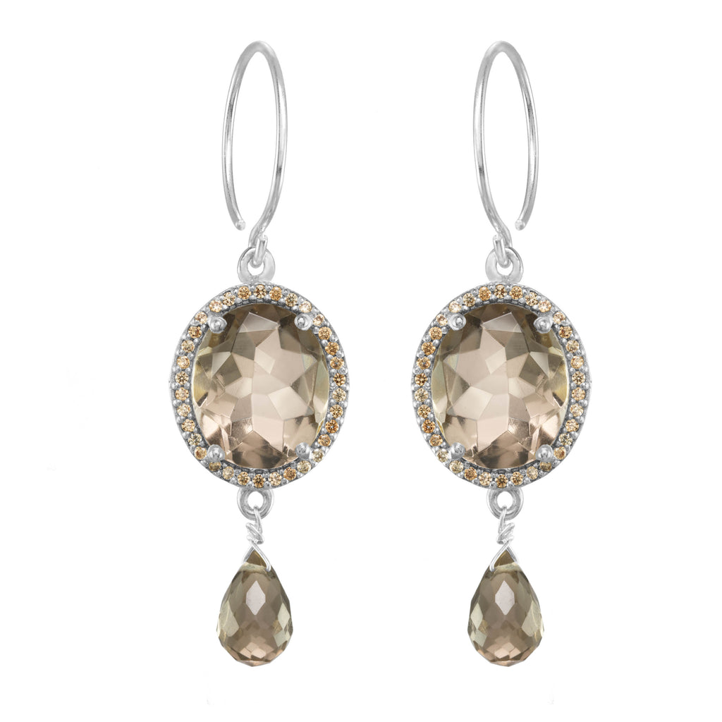 Charleston Gemdrop Earring - Smoky Silver