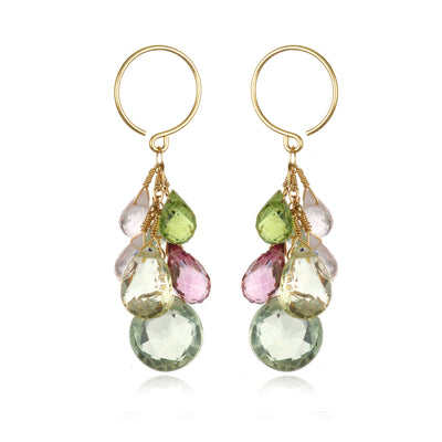 Coin Dangle Earrings - Green Amethyst Gold