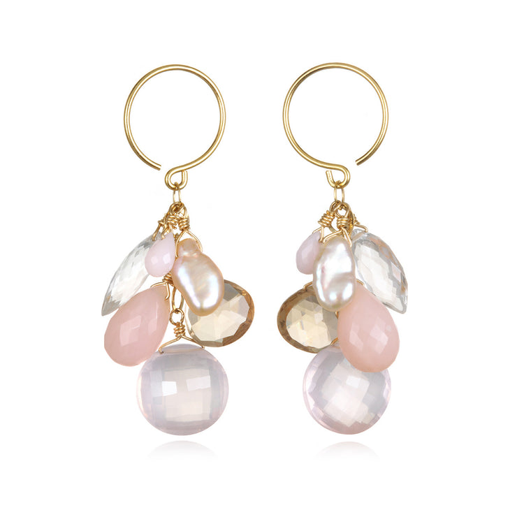 Coin Dangle Earrings - Rose Quartz Gold