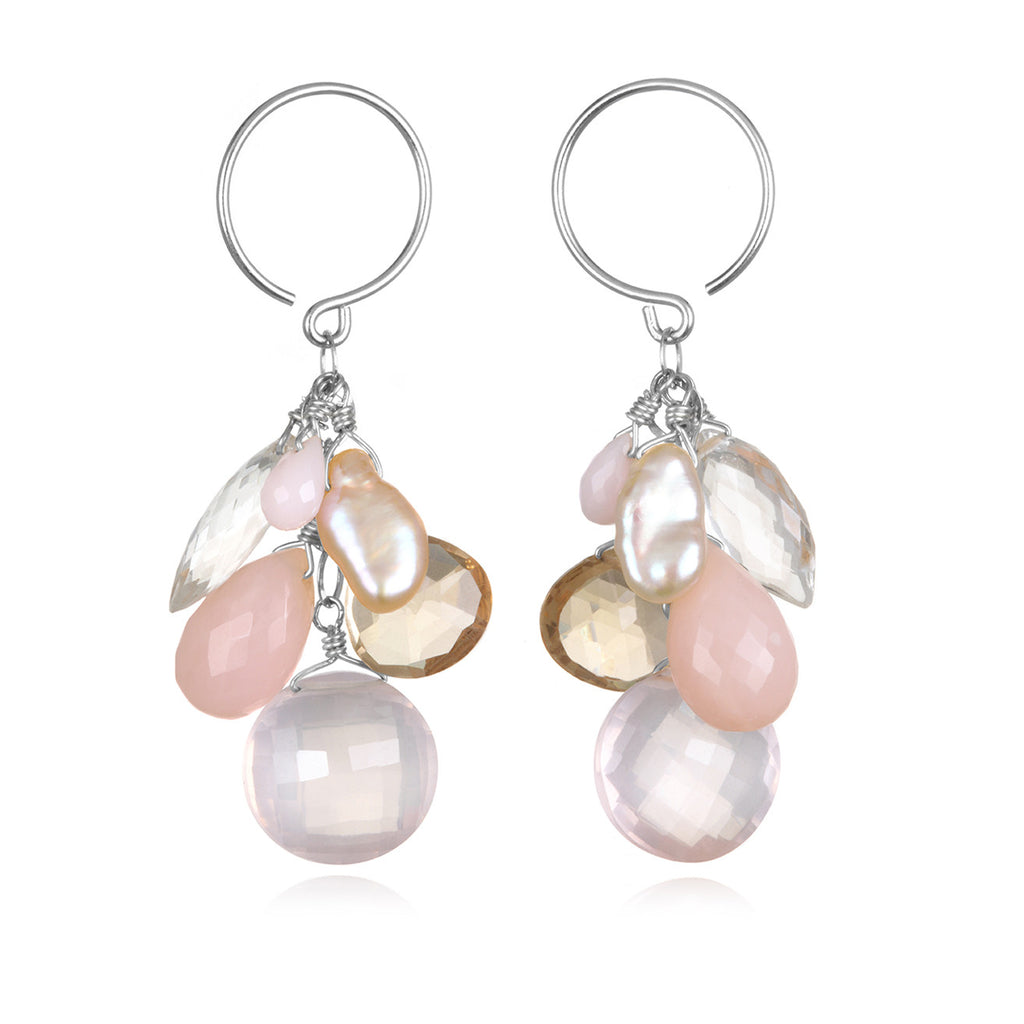 Coin Dangle Earrings - Rose Quartz Silver