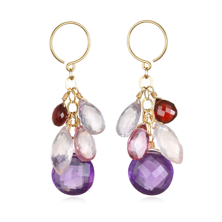 Coin Dangle Earrings - Amethyst Gold