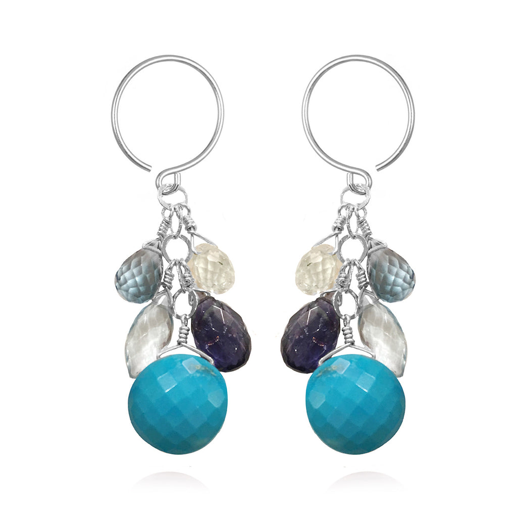 Coin Dangle Earrings - Turquoise Silver