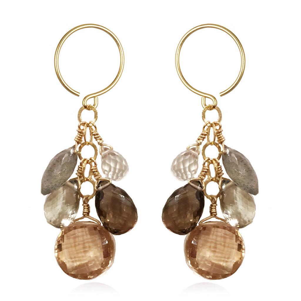 Coin Dangle Earrings - Champagne Citrine Gold