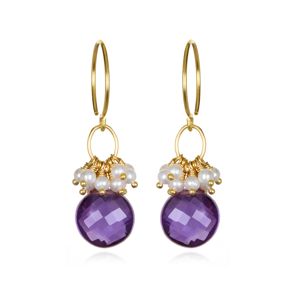 Pearl Cluster Coin Earrings - Amethyst Gold