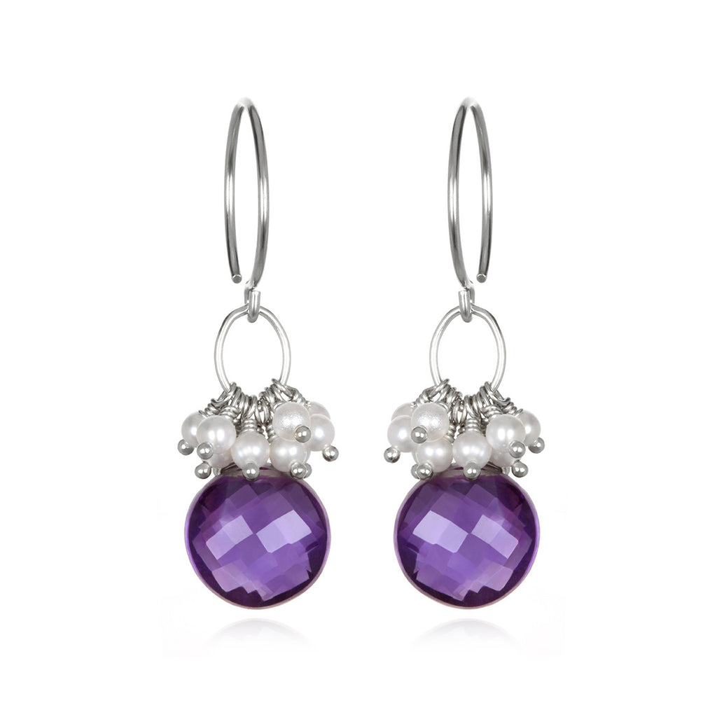 Pearl Cluster Coin Earrings - Amethyst Silver