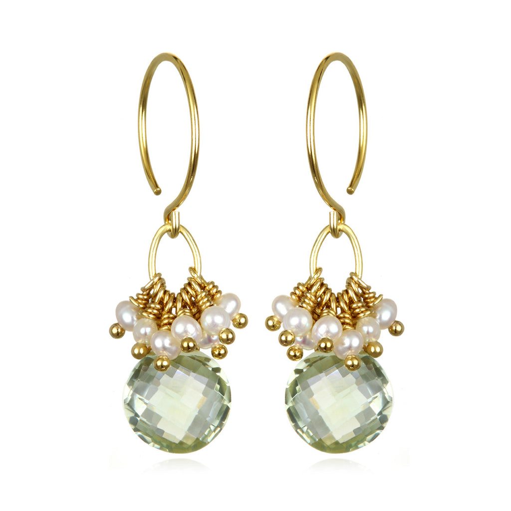 Pearl Cluster Coin Earrings - Green Amethyst Gold