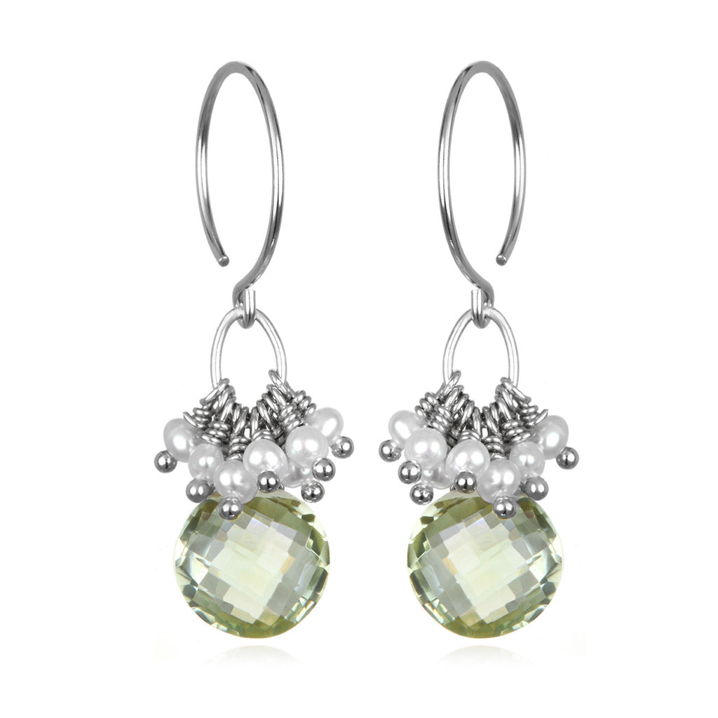 Pearl Cluster Coin Earrings - Green Amethyst Silver