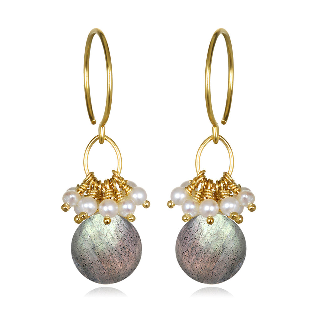 Pearl Cluster Coin Earrings - Labradorite Gold
