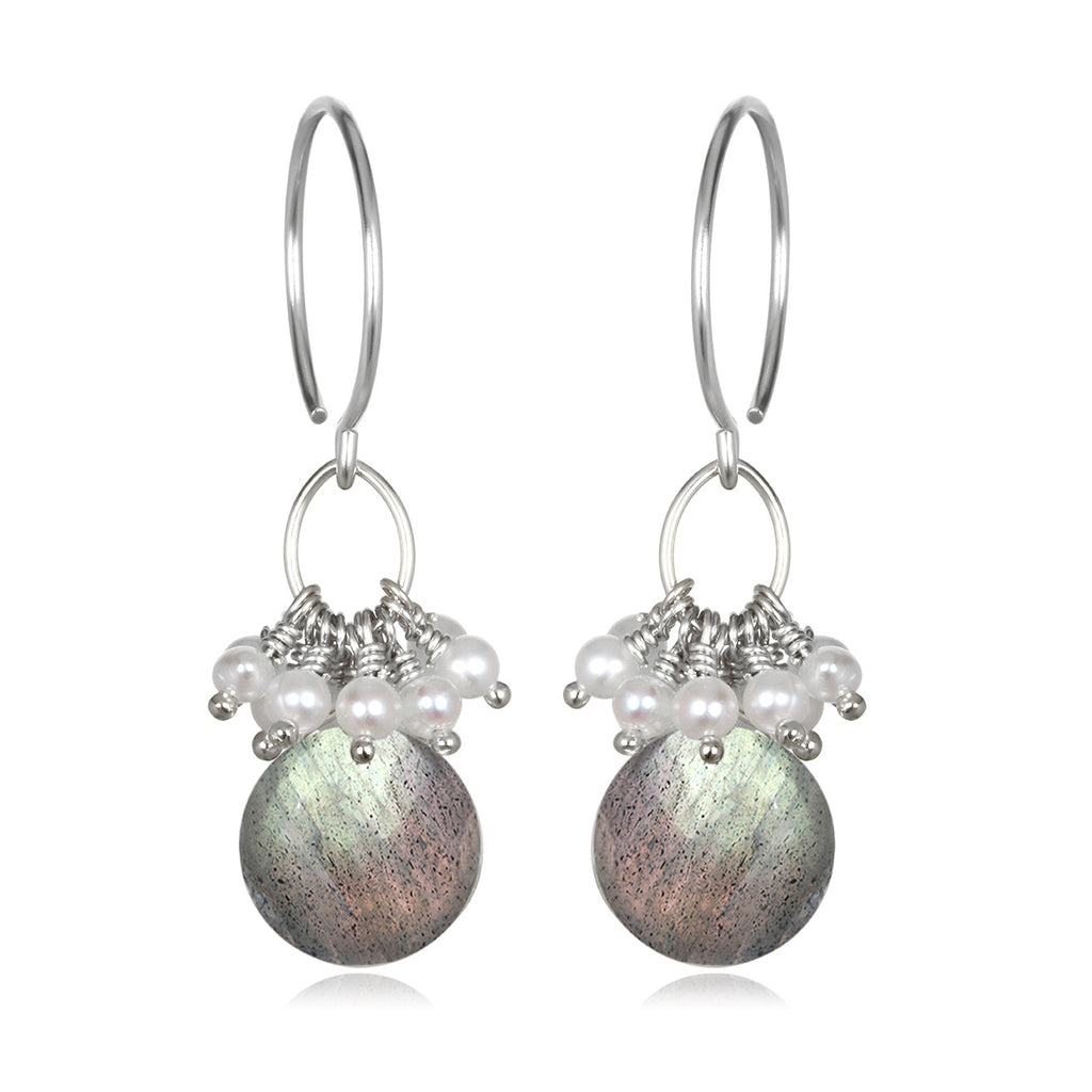 Pearl Cluster Coin Earrings - Labradorite Silver