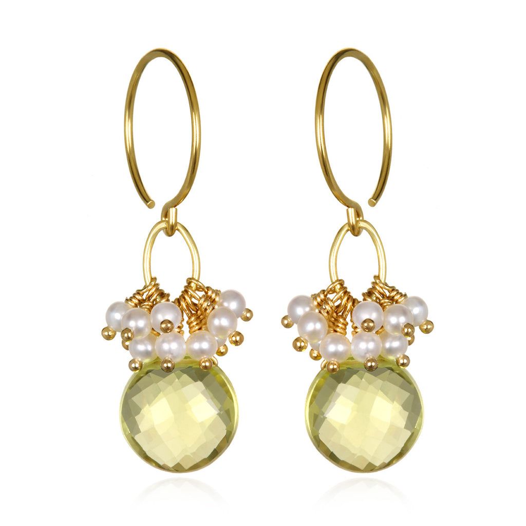 Pearl Cluster Coin Earrings - Lemon Quartz Gold