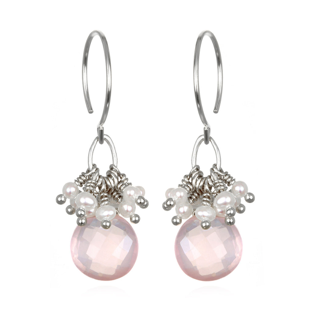 Pearl Cluster Coin Earrings - Rose Quartz Silver