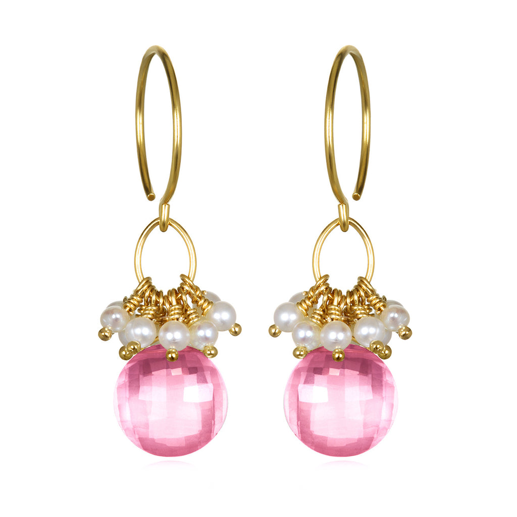 Pearl Cluster Coin Earrings - Pink Topaz Gold