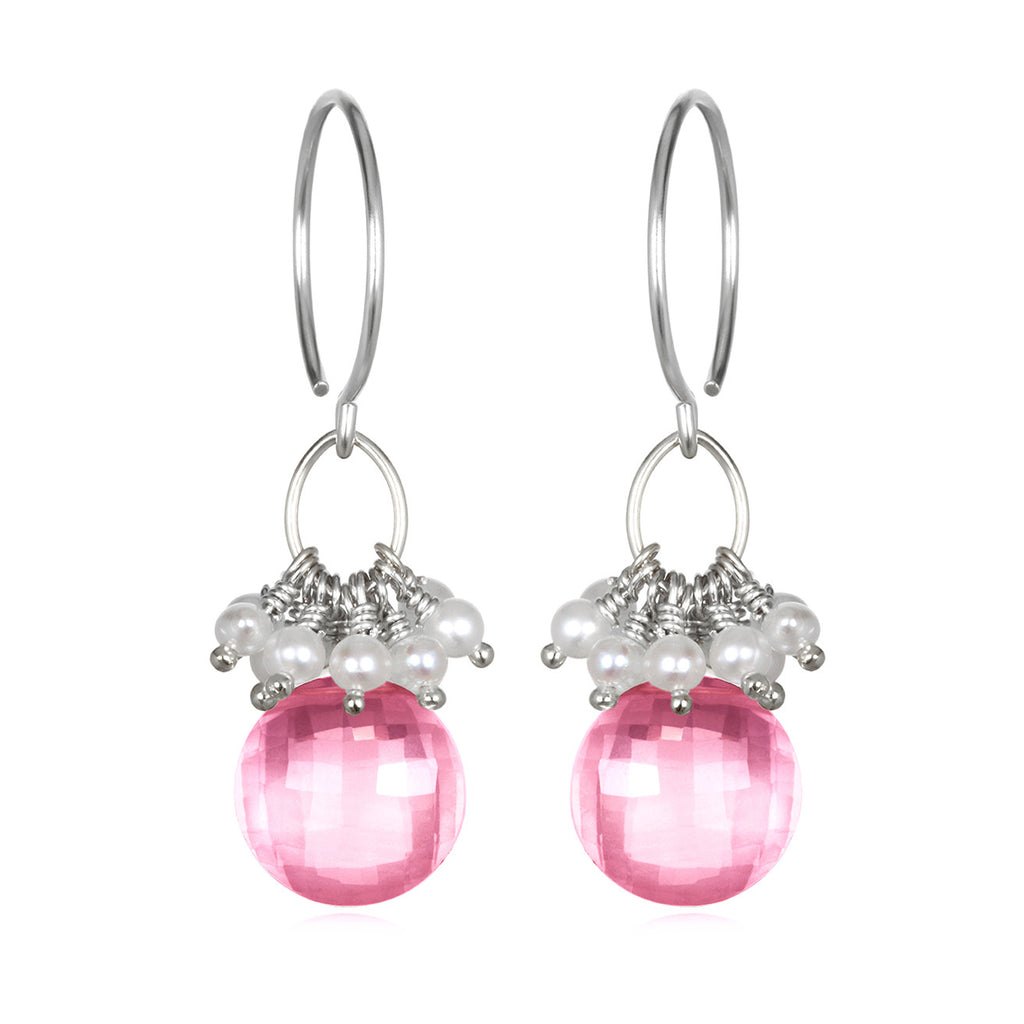 Pearl Cluster Coin Earrings - Pink Topaz Silver