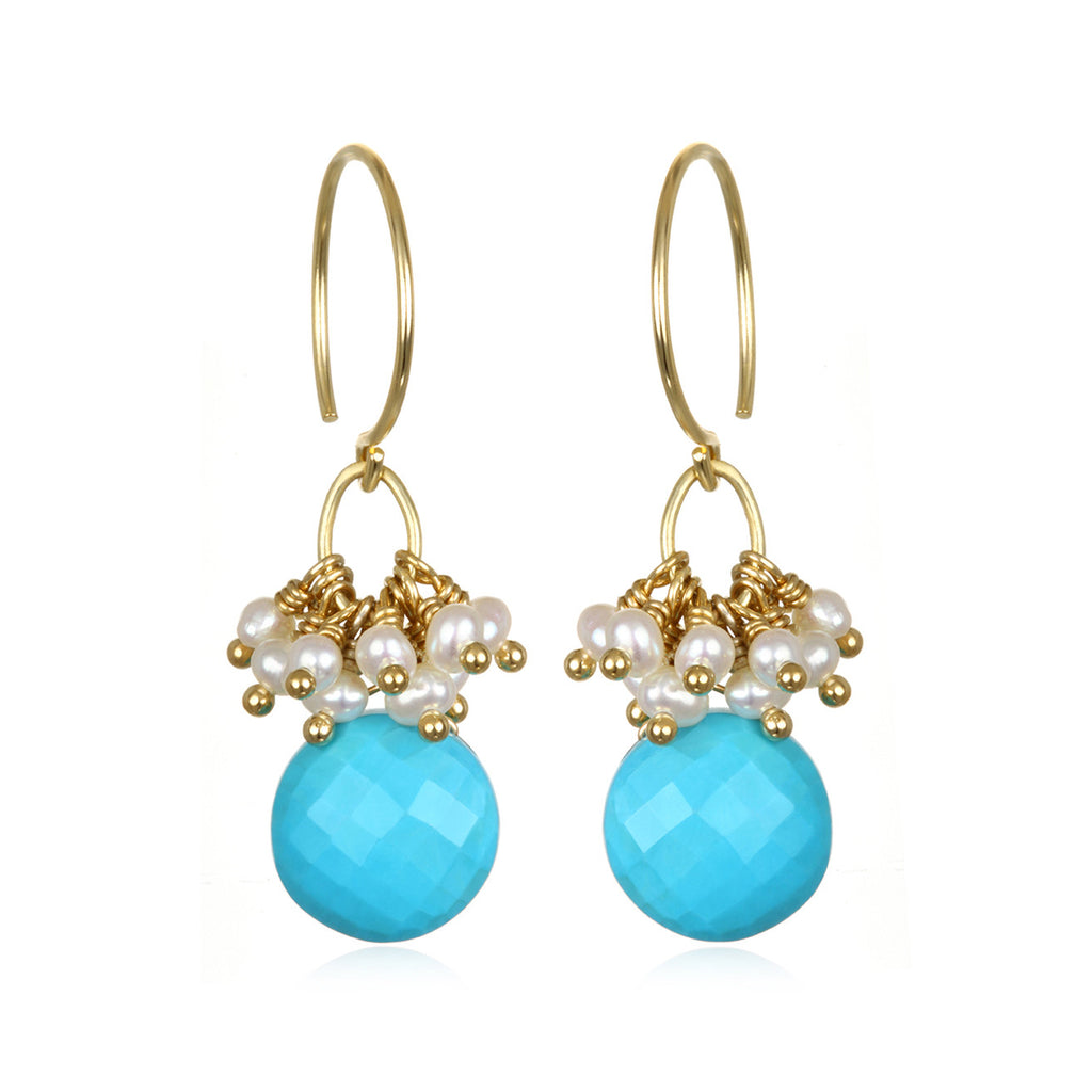 Pearl Cluster Coin Earrings - Turquoise Gold