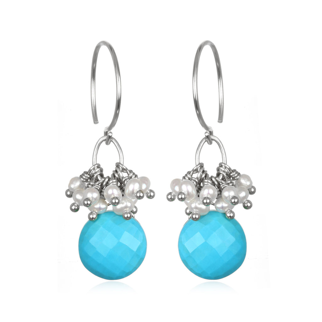 Pearl Cluster Coin Earrings - Turquoise Silver
