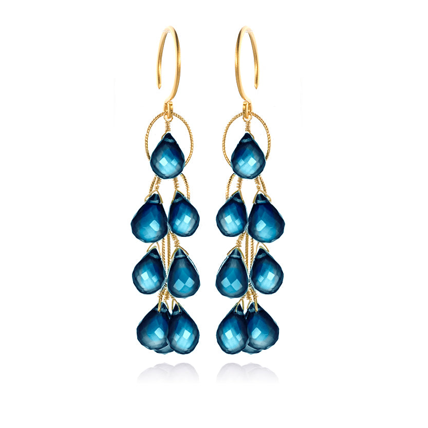 Waterfall Earrings London Blue Topaz Gold