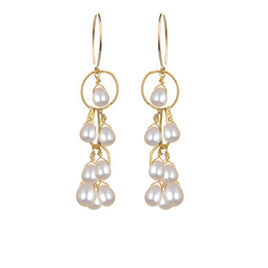 Waterfall Earrings Pearl Gold