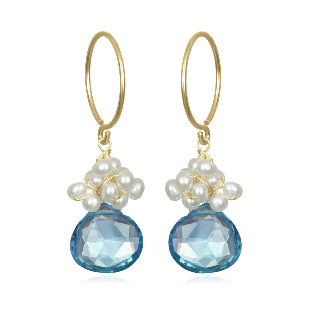 Pearl Fringe Earrings London Blue Topaz Gold