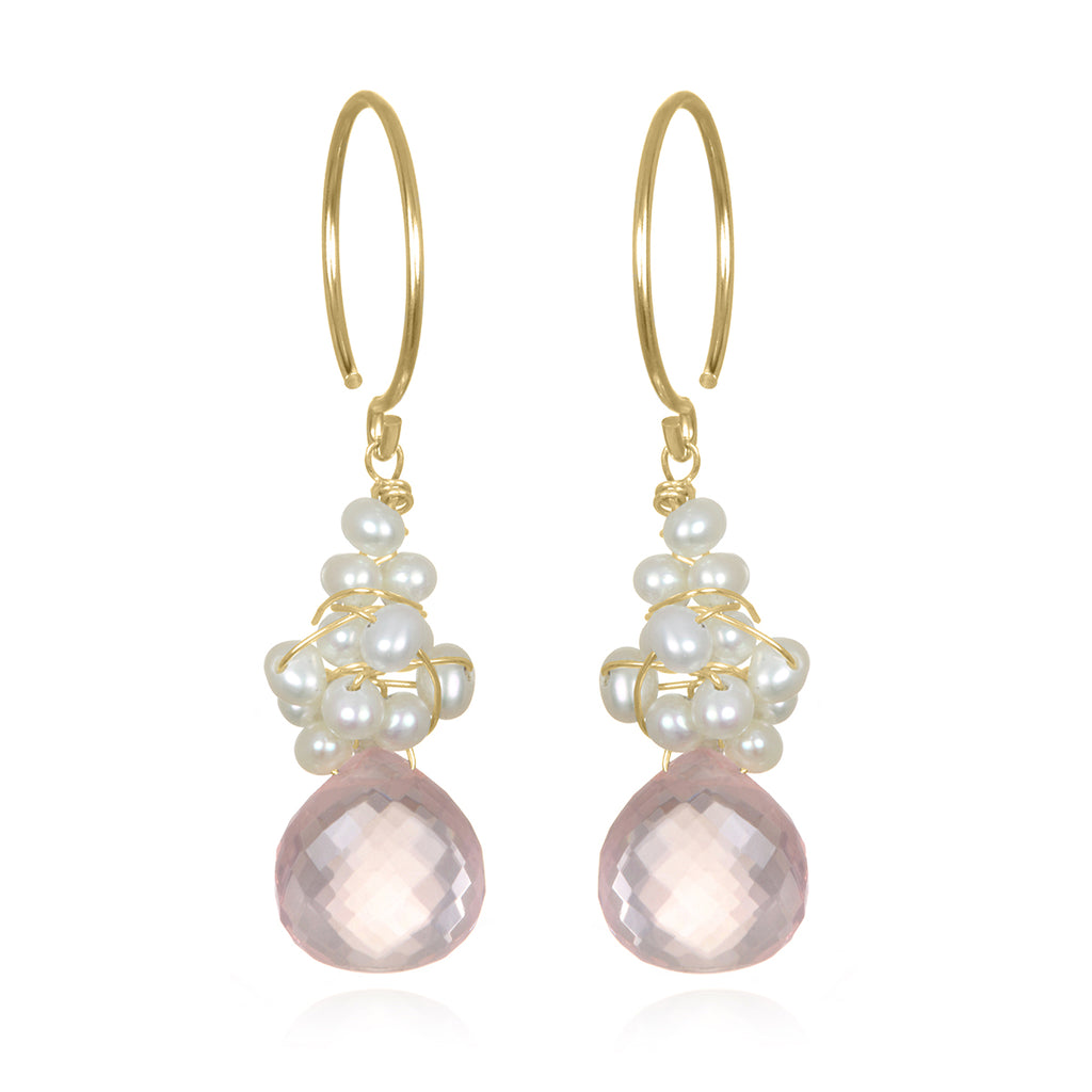 Pearl Fringe Earrings Rose Quartz Gold