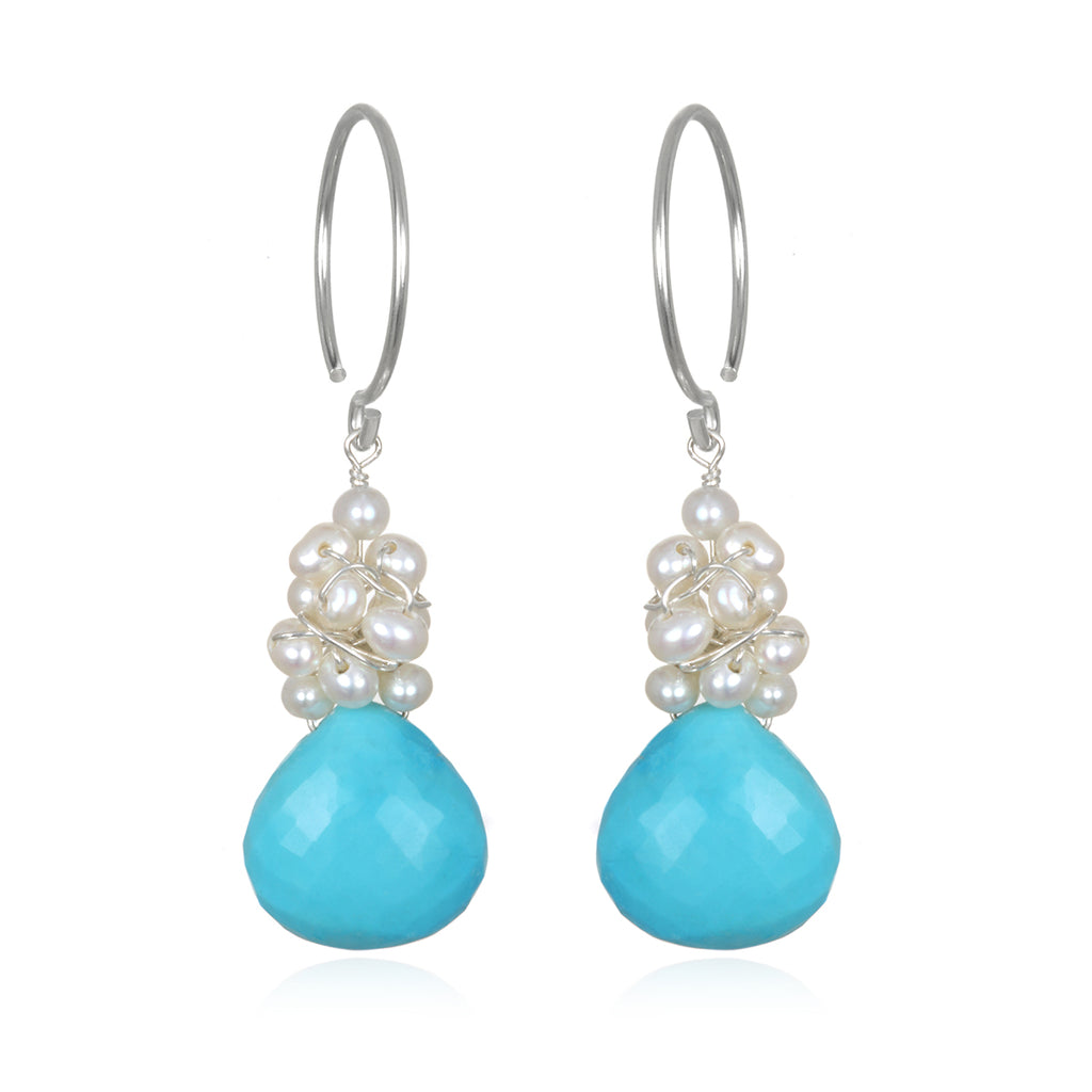Pearl Fringe Earrings Turquoise Silver