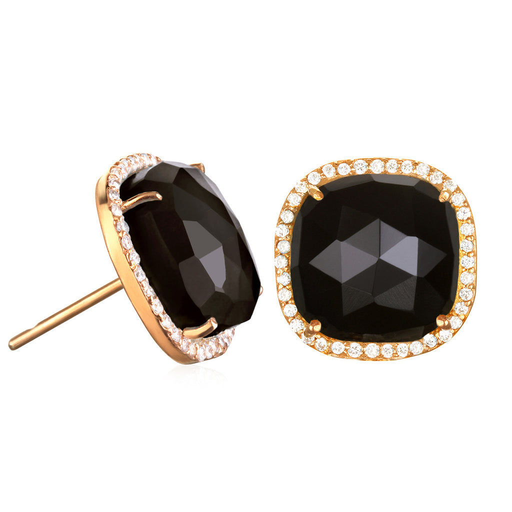 Paris Stud-Black with Clear Gold