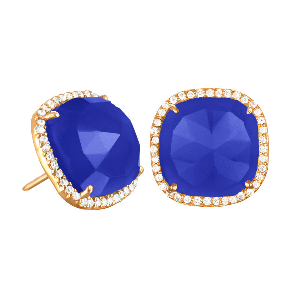 Paris Stud-Dark Blue with Clear Gold