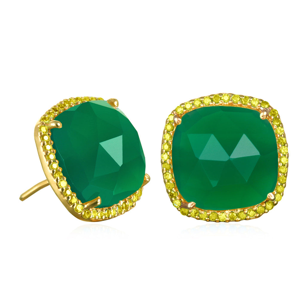 Paris Stud-Green with Olive Gold