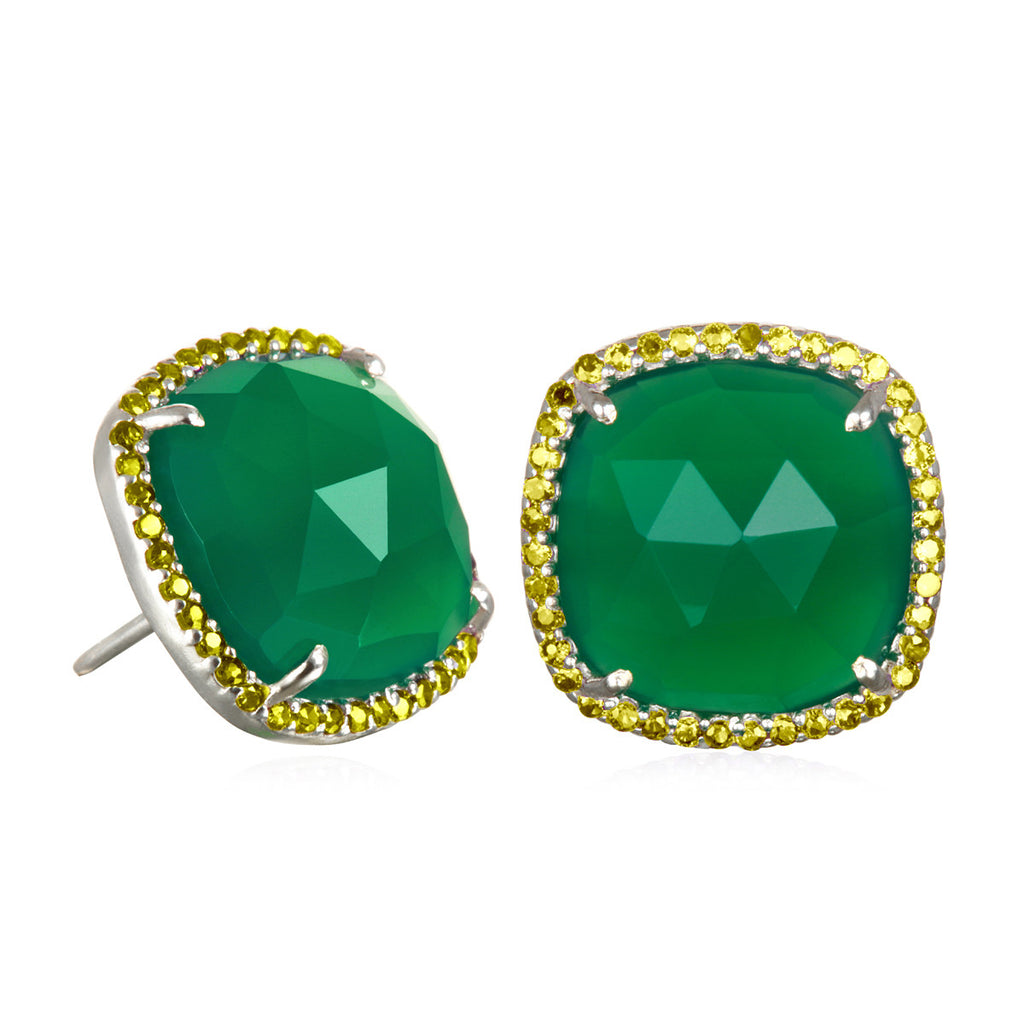 Paris Stud-Green with Olive Silver