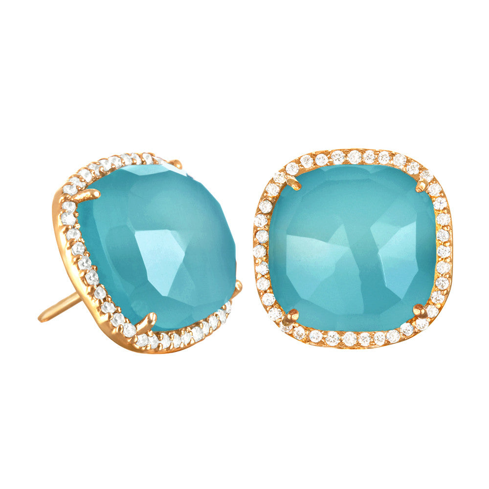Paris Stud-Light Blue with Clear Gold