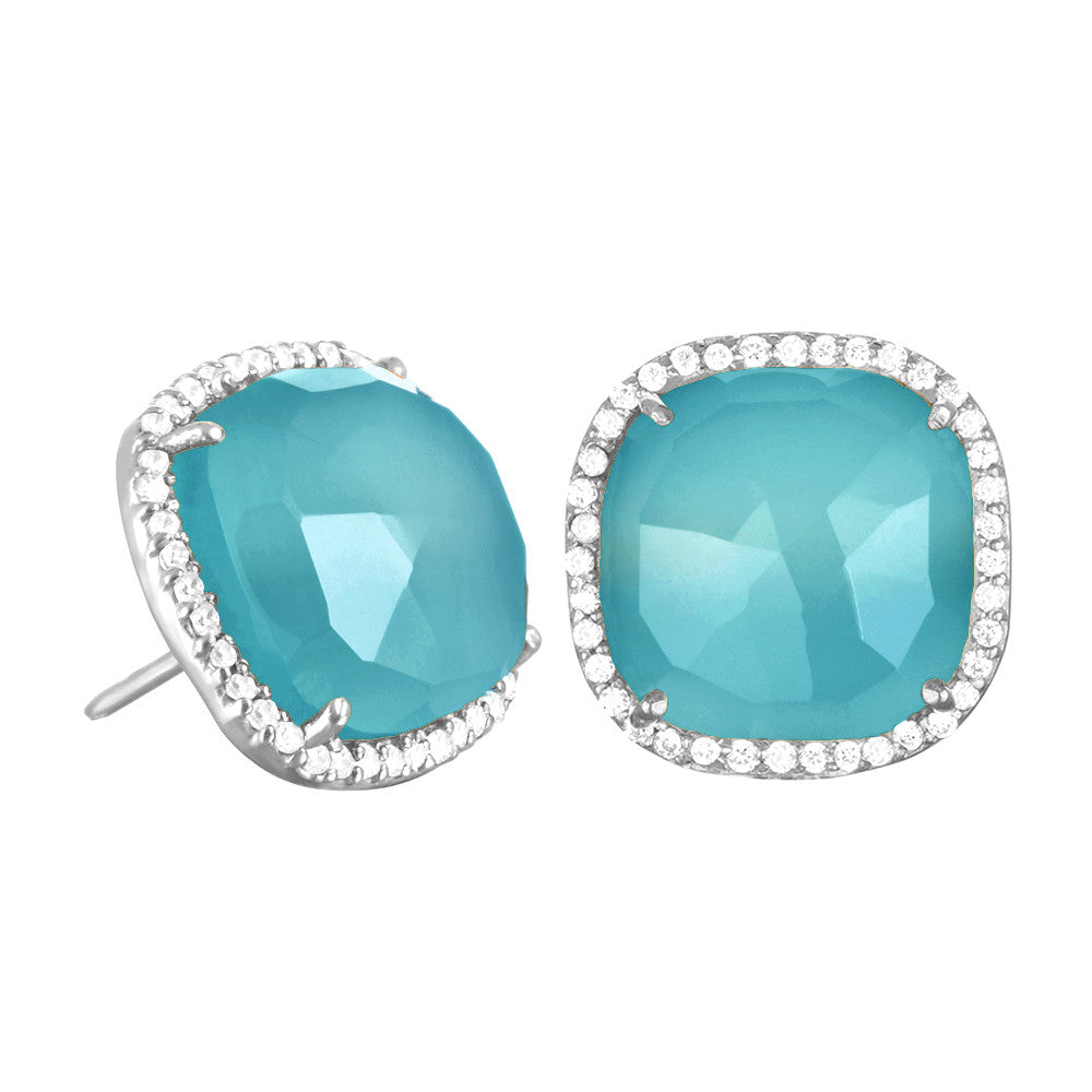 Paris Stud-Light Blue with Clear Silver