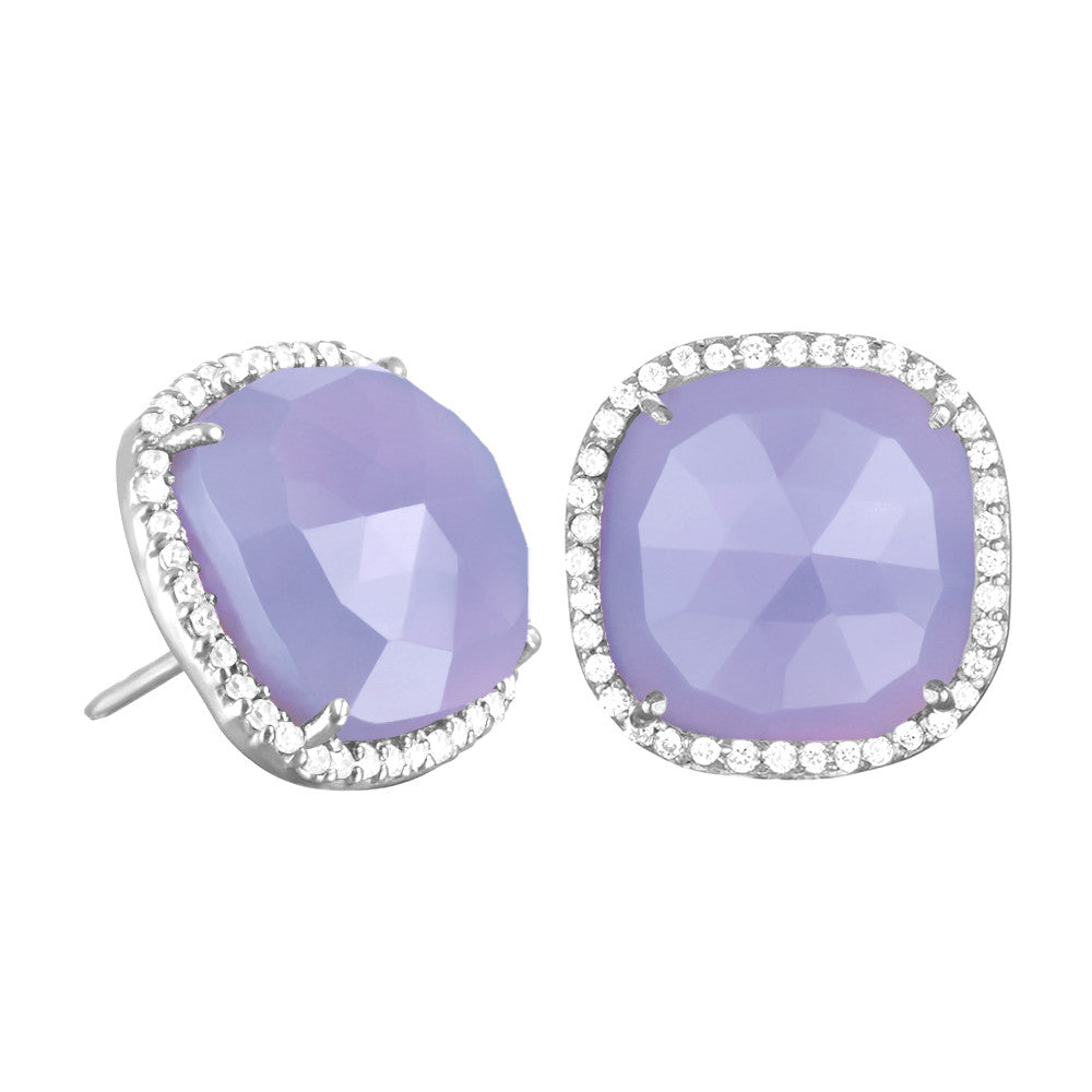 Paris Stud-Purple with Clear Silver