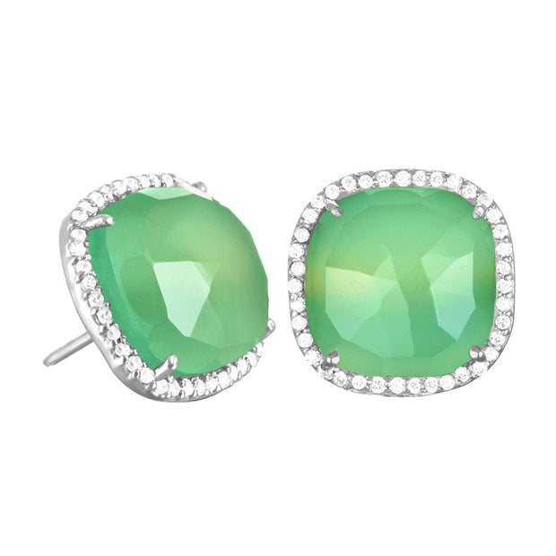 Paris Stud-Mint with Clear Silver
