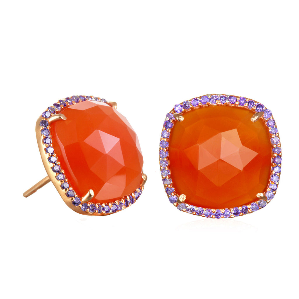 Paris Stud-Orange with Purple Gold