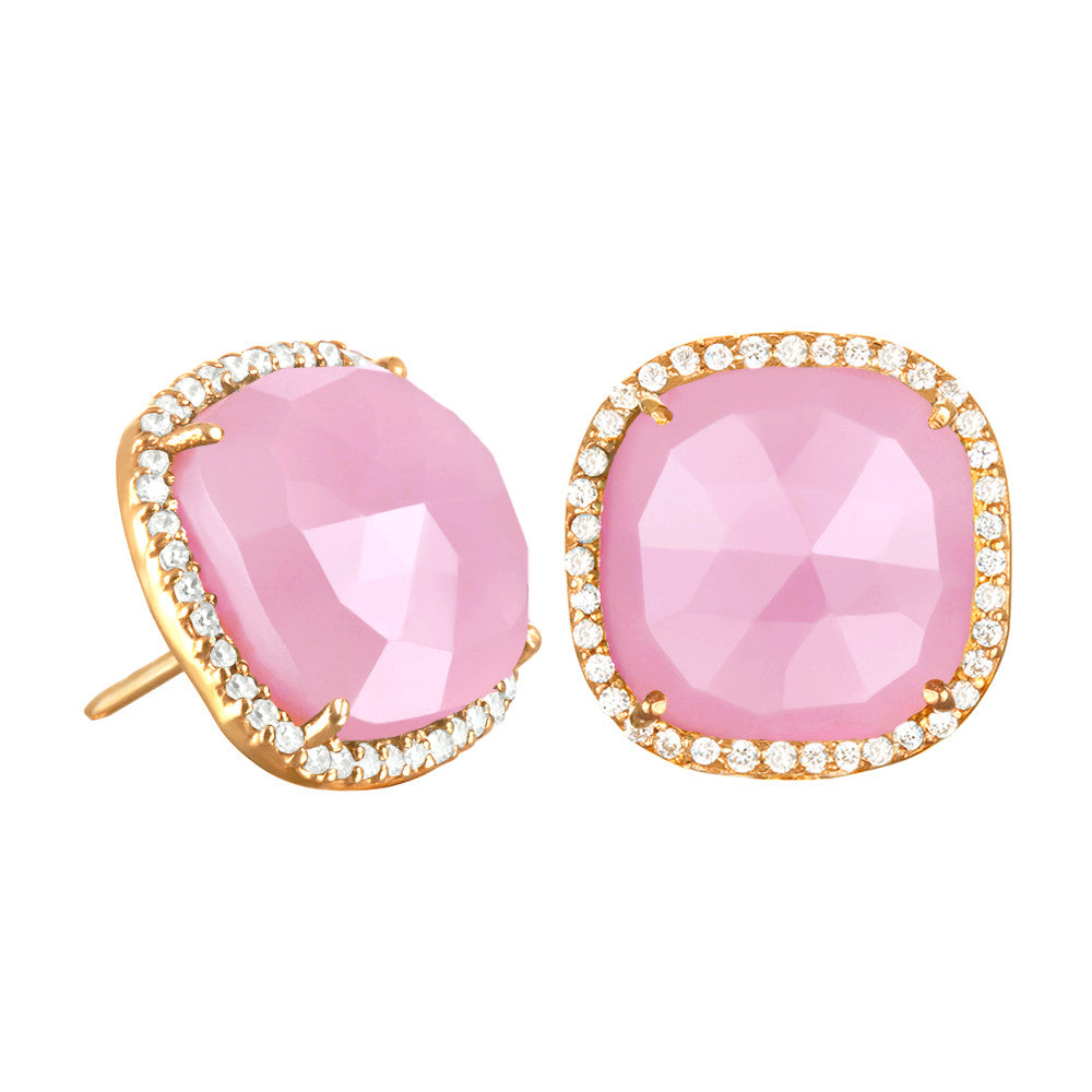 Paris Stud-Pink with Clear Gold