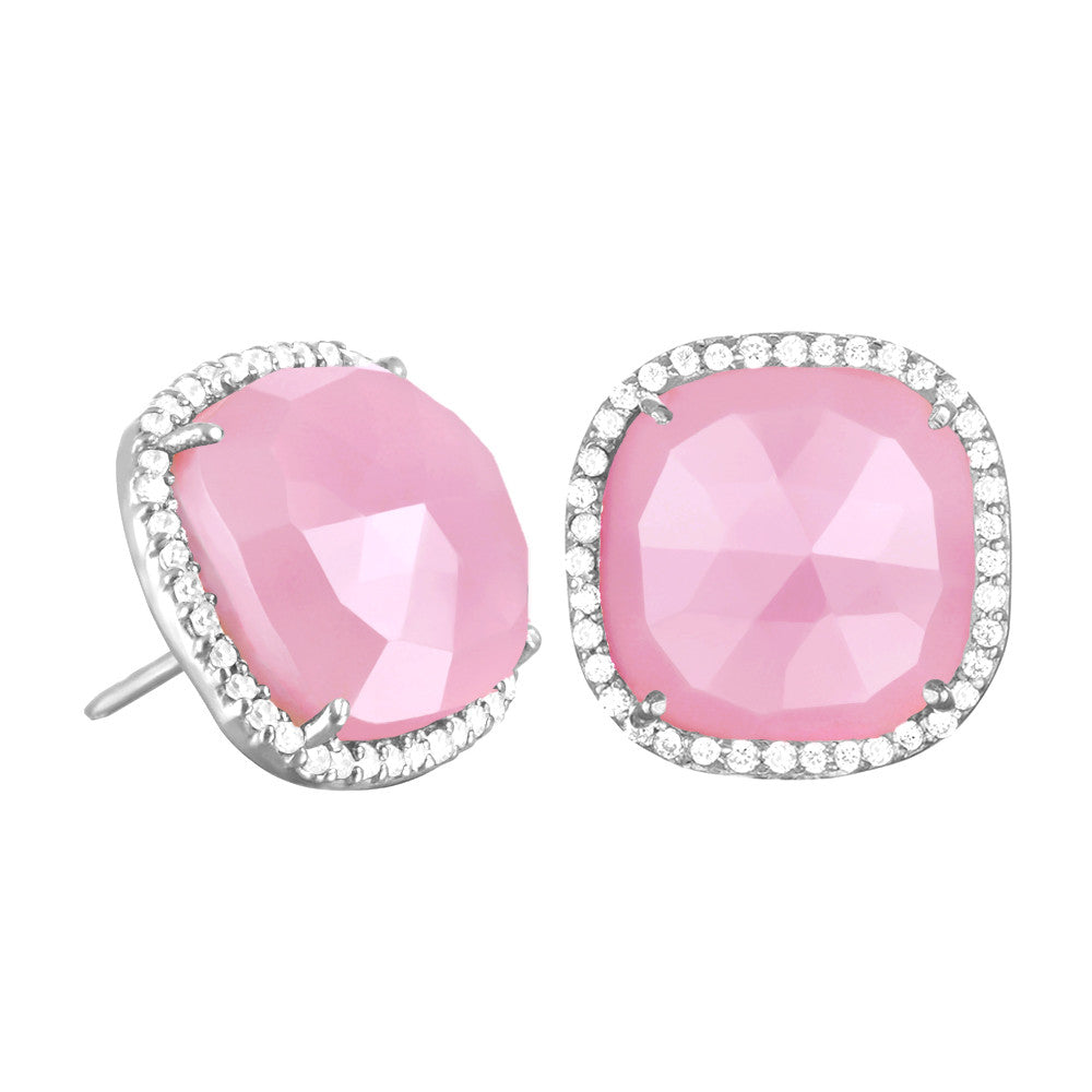 Paris Stud-Pink with Clear Silver