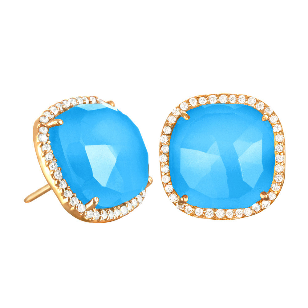 Paris Stud-Turquoise with Clear Gold